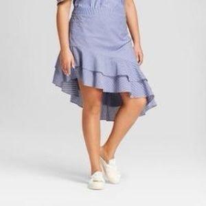 A New Day Striped Asymmetrical Skirt